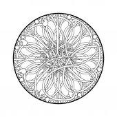 White and black mandala ornament — Stok Vektör