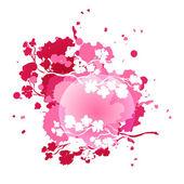 Splash with cherry blossom branc — Stock Vector
