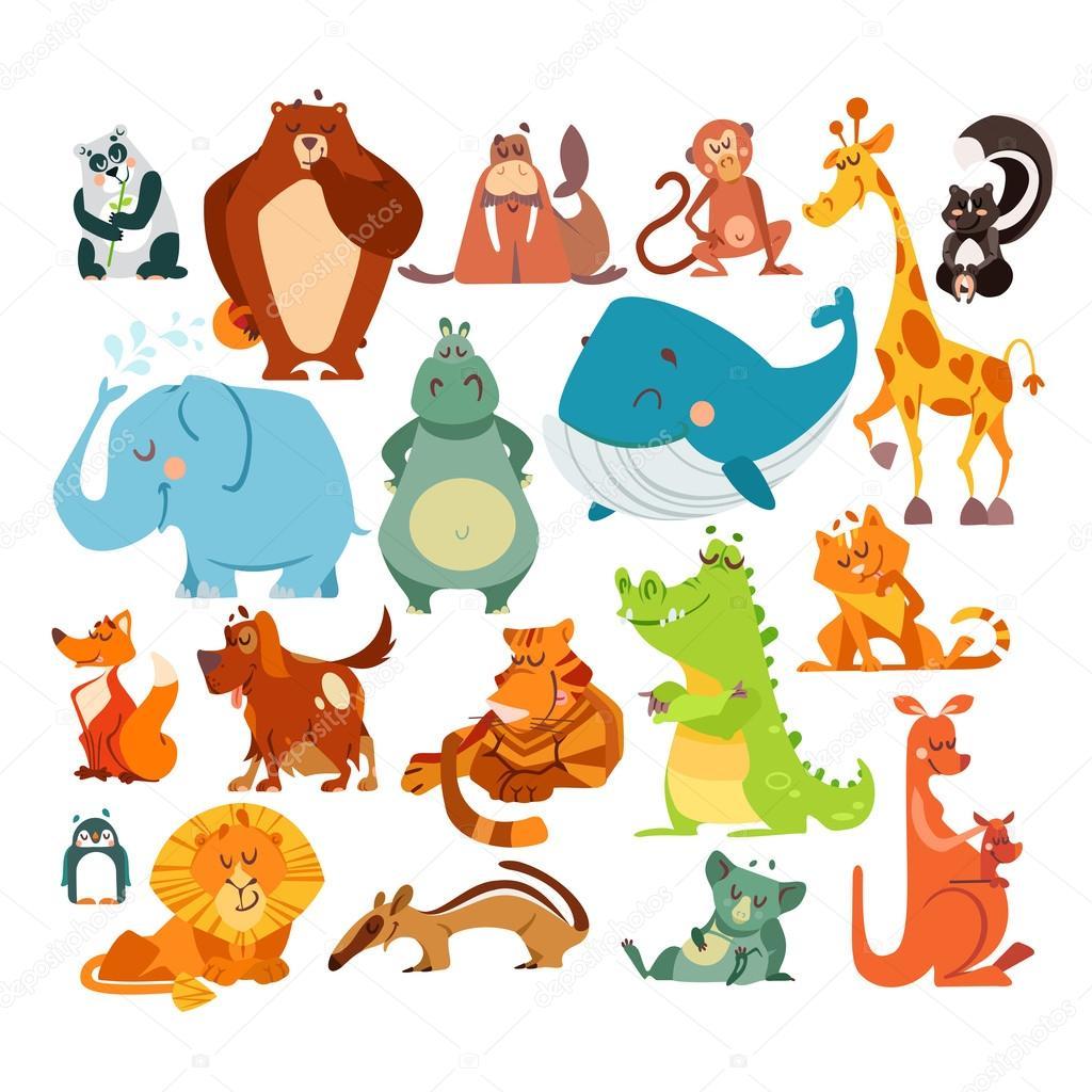 Conjunto de animales de la historieta lindo kawaii. Oso panda, oso, mono, jirafa, skunk, elefante, hipopótamo, ballena, zorro, perro, tigre, cocodrilo,