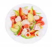 Warm meat salad with vegetables — Stock Photo