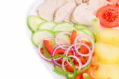 Warm meat salad — Stock Photo
