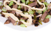 Meat salad with mushrooms — Stock Photo