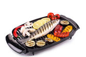 Grilled seabass on grill  — Stock Photo