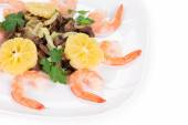 Shrimp salad with mushrooms — Foto de Stock