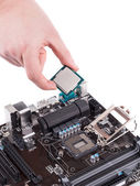 Electronic board and microchip — Stock Photo