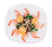 Shrimp salad with mushrooms. — Foto de Stock