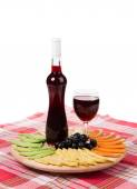 Wine and cheese plate. — Stock Photo