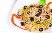 Seafood salad with spaghetti. — Stock Photo