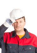 Worker with clenched fist. — Stock Photo