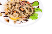 Italian pasta with seafood. — Stock Photo
