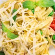 Pasta with green peas on plate close up. — Stock Photo #55293189