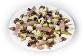 Kött sallad med svamp. — Stockfoto