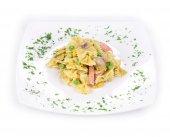 Pasta farfalle with ham  — Stock Photo