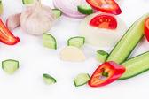 Legumes frescos em fatias. — Foto Stock