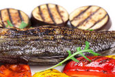 Grilled seabass on plate — Foto Stock