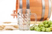 Barrel with beer glass — Stock Photo
