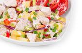 Teplé maso salát — Stock fotografie