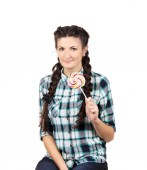 Girl with braids and lollipop.  — Stock Photo