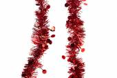 Christmas red tinsel — Stock Photo