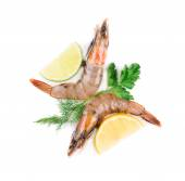 Raw tiger shrimps with lemon — Stock Photo
