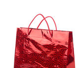 Red gift paper bag — Stock Photo