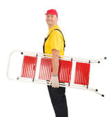 Worker with ladder. — Stock Photo