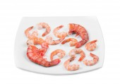 Boiled shrimps on plate — Stock Photo