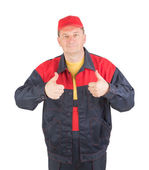 Worker with thumbs up — Stock Photo