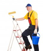 Worker with roller — Stock Photo