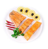 Fried salmon fillet — Stock Photo