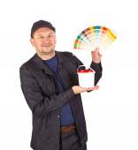 Man with color samples for paint. — Stock Photo