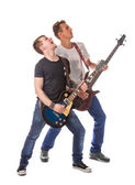 Lead and bass guitarists — Stock Photo