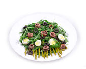 Asparagus salad with anchovies — Stock Photo