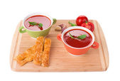 Bowl of tomato soup. — Stock Photo