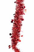 Christmas red tinsel with stars. — Stock Photo