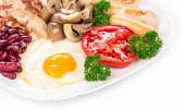 Fried egg with sausage — Stock Photo
