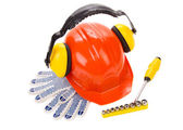 Hard hat with tools. — Stock Photo
