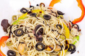 Smaczne włoski makaron z owocami morza. — Zdjęcie stockowe