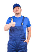 Worker with great sign. — Stock Photo