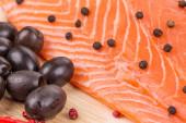 Raw salmon steak. — Stock Photo