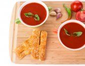Tomato soup with basil. — Stock Photo