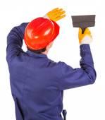 Hombre trabajador con espátula. — Foto de Stock