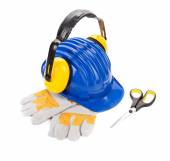 Safety helmet, scissors and gloves — Stock Photo