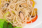 Italian pasta with seafood as haute cuisine. — Stock Photo