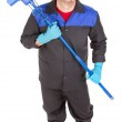 Man holding broom — Stock Photo #70132853