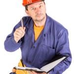 Worker in red protective helmet. — Stock Photo #70132907