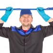 Man holding broom — Stock Photo #70133063