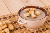 Pea soup with crouton — Stock Photo