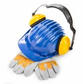 Hard hat ear muffs and gloves. — Stock Photo