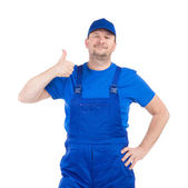 Worker with  thumb up — Stock Photo